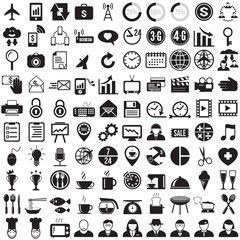 100 Business and food icons set, vector format
