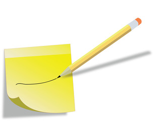 Yellow stick note and pencil