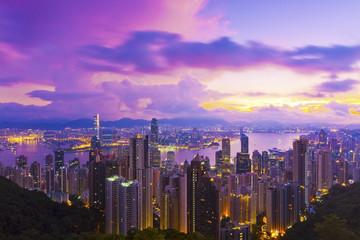 Hong Kong dawn at downtown