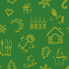 Seamless new year's green background