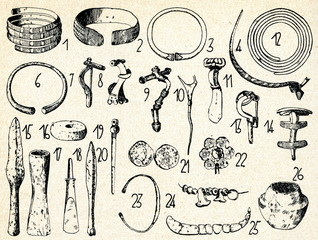 Weaponry, jewelry and vessel (2.-6. century, Latvia)