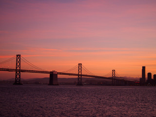 San Francisco side of Bay Bridge and downtown San Francisco at D