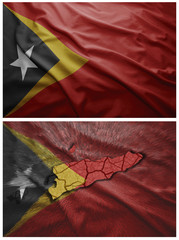 East Timor, flag and map collage