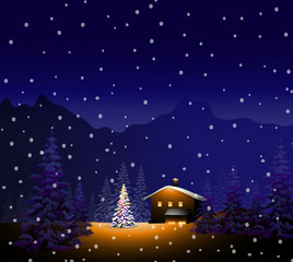 Merry Christmas & Winter landscape-vector