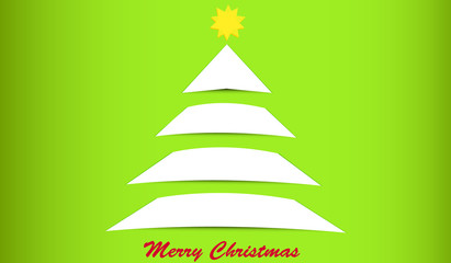 Vector illustration of paper christmas tree on green background