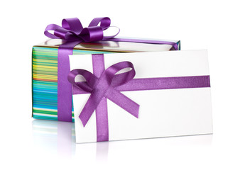 Gift box and letter with ribbon and bow