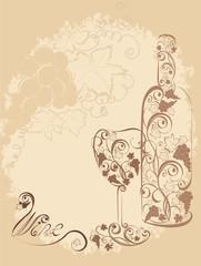 Stylized wine bottle and wine glass