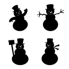 Snowman silhouette set