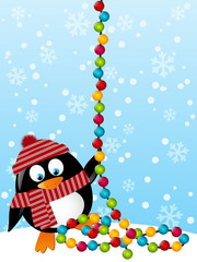 Cute penguin with light bulbs
