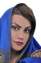 Beautiful Arabian women, white background