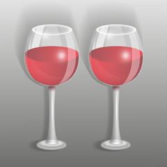 два бокала с вином на сером фоне