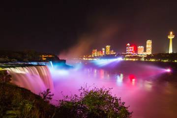 Niagara Falls light show at night