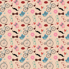 Hipster Doodles Colorful Seamless Pattern