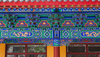 Windows and beams of chinese traditional architecture