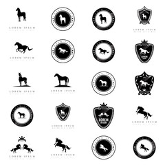 Horse Icons Set - Isolated On White Background