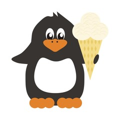 nice penguin on white background with ice cream