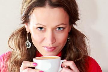 pretty girl with cappuccino