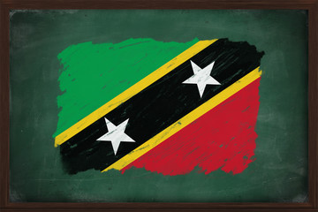 Saint Kitts and Nevis flag painted with chalk on blackboard