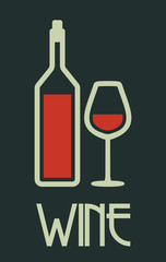 Bottle of wine and glass poster
