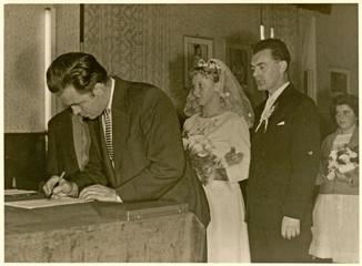 Wedding day (wedding witness signs) - circa 1950