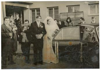Journey to the wedding ceremony - bride and groom (circa 1970)