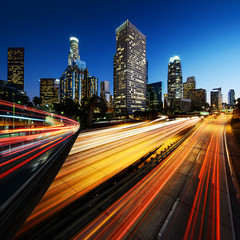 Wall Mural - City of Los Angeles California at sunset with light trails