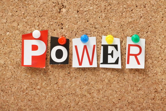 The word Power on a cork notice board
