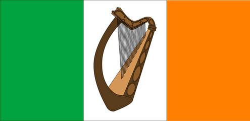 Irish Flag With Harp