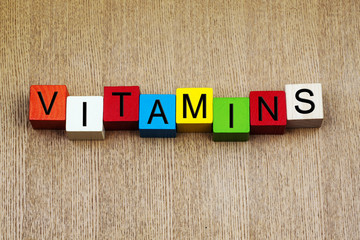 Vitamins - sign series for medical health care