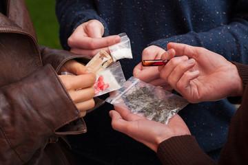 Fototapeta Drug dealer selling drugs obraz