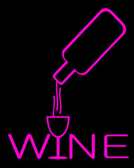 neon sign of wine being poured into glass