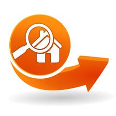 Fototapete - diagnostic immobilier sur bouton web orange