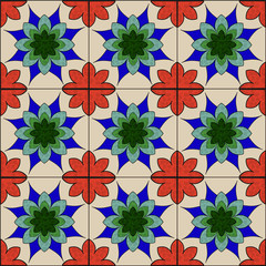 stained glass floral mosaic pattern seamless