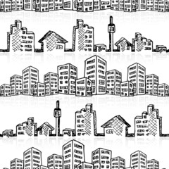 Cityscape sketch seamless