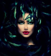 Wall Mural - Mysterious Woman Portrait. Beautiful Model Woman Face Closeup