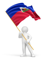 Man and Haitian flag (clipping path included)