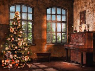 Pokój retro z pianinem, świecami i choinką