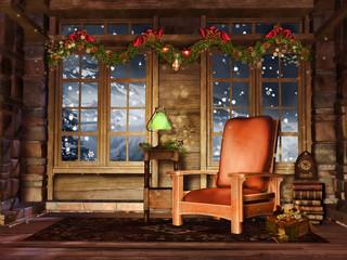 Drewniany pokój retro z fotelem i świątecznymi girlandami