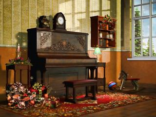 Pokój z pianinem, zabawkami i świątecznymi prezentami