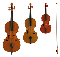 double bass, viola and violin