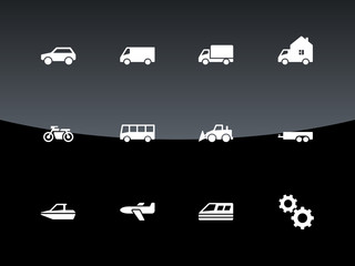 Cars and Transport icons on black background.