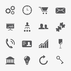 16 Business and strategy icons vector set