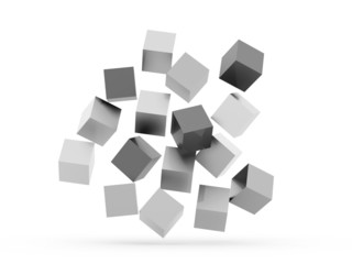 Black and white cubes concept isolated
