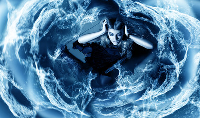 young woman in whirlpool