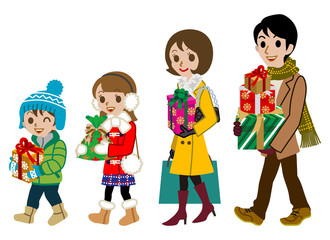 Shopping family, winter, Isolated