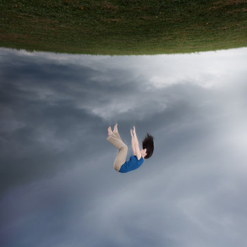 Surreal woman falling