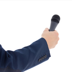 reporter's hand holding a microphone isolated on white
