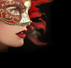 Close up portrait of woman in red mask.