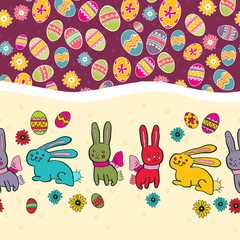 Easter seamless border with rabbit