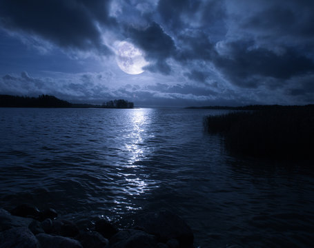 full moon over water